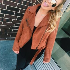 Orange faux suede Moto jacket